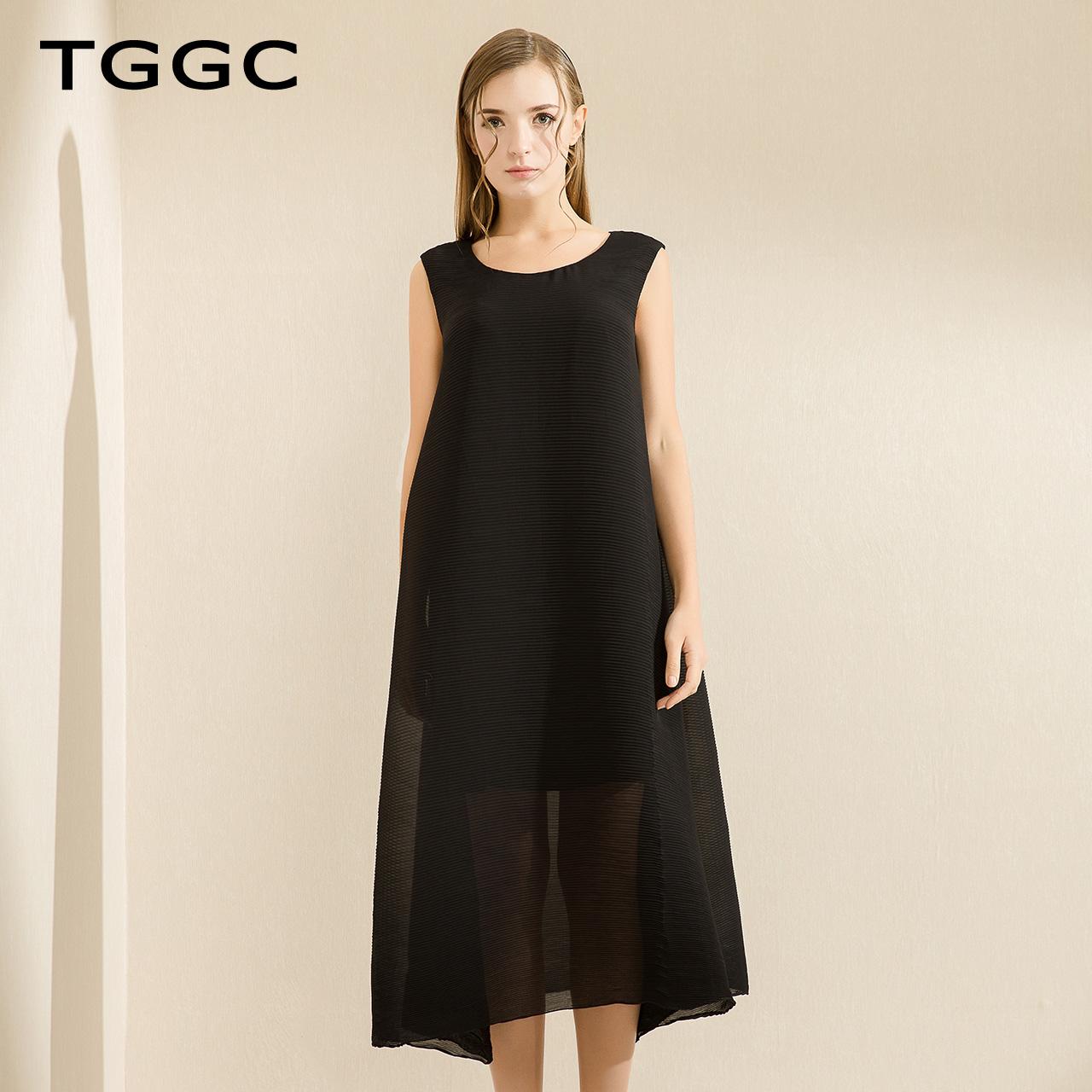 TGGC 2018春装休闲宽松纯色无袖气质雪纺长裙时尚女连衣裙ECF0078