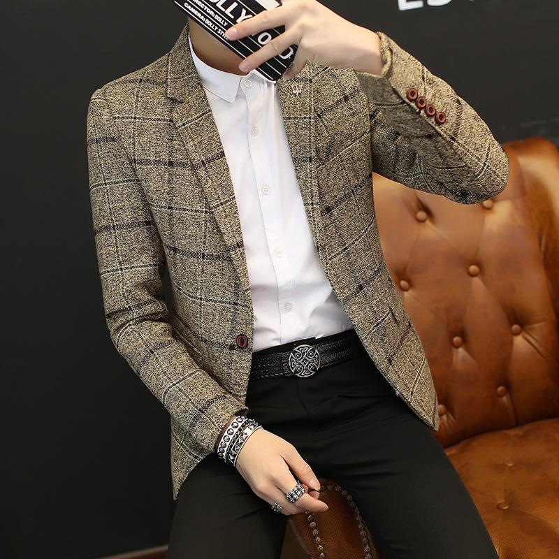 Весна модельа небольшой решетки костюм молодежь мужской куртка случайный костюм тонкий корейский мужчина костюм пальто