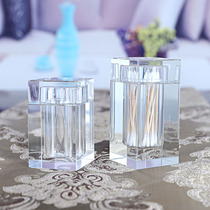 Creative Hotel KTV Living room home crystal glass toothpick box square stamped transparent cotton swab box cotton swab bucket