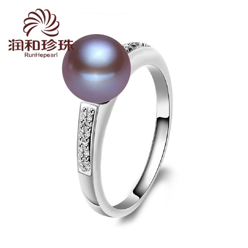 润和珠宝 寻菡 925银开口戒可调节 天紫色珍珠戒指正品 然送女友