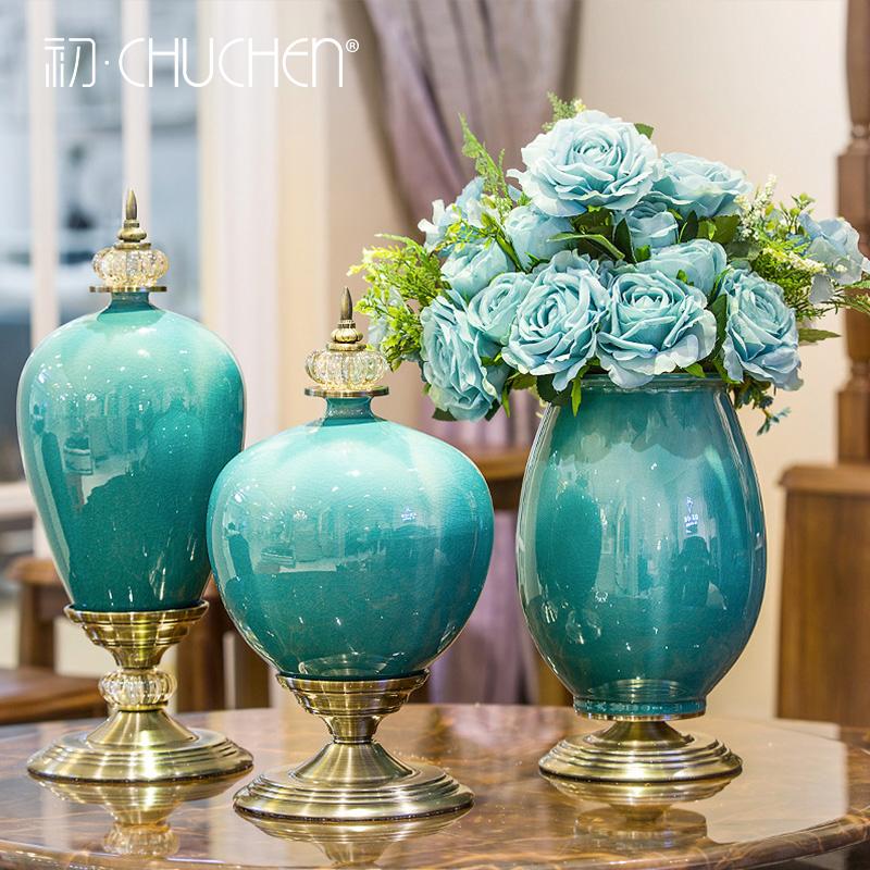 歐式擺件家居美式餐桌客廳落地大花瓶陶瓷幹花插花電視櫃軟裝飾品