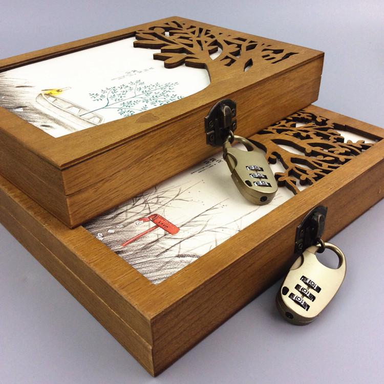 B6带锁密码本木盒笔记本精装笔记本手账本礼盒彩页记事本高档