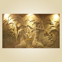 Sandstone character relief carving Chinese folk mural sand carving Xuan Guan TV background wall dai girl large mural