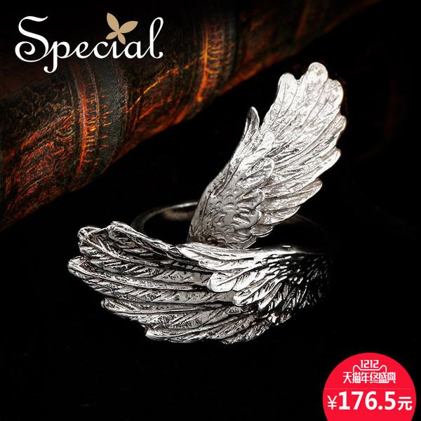 Special欧美S925银情侣款对戒设计开口戒指带你一起飞翔冬季新品