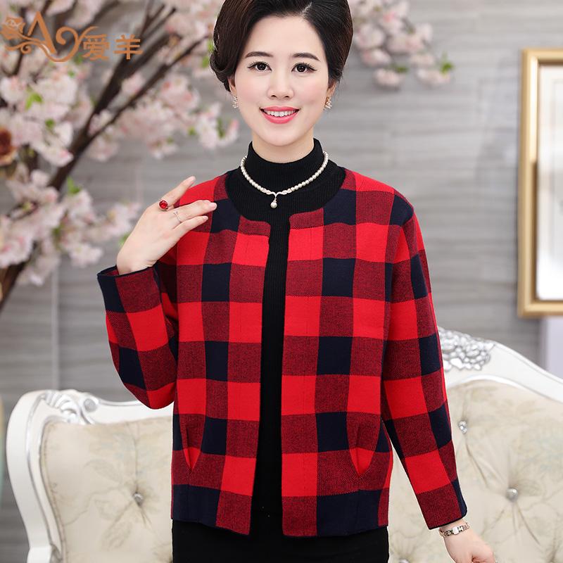 中老年人女裝秋裝上衣針織衫開衫中年婦女媽媽裝短款毛衣外套格子