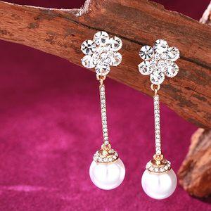 韩国时尚长款水晶性感耳环气质甜美耳饰新娘高贵百搭饰品珍珠耳坠