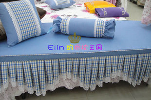 Pure landscape fabric with plaid series sponge bay window sill cushion sofa cushion tatami custom 6