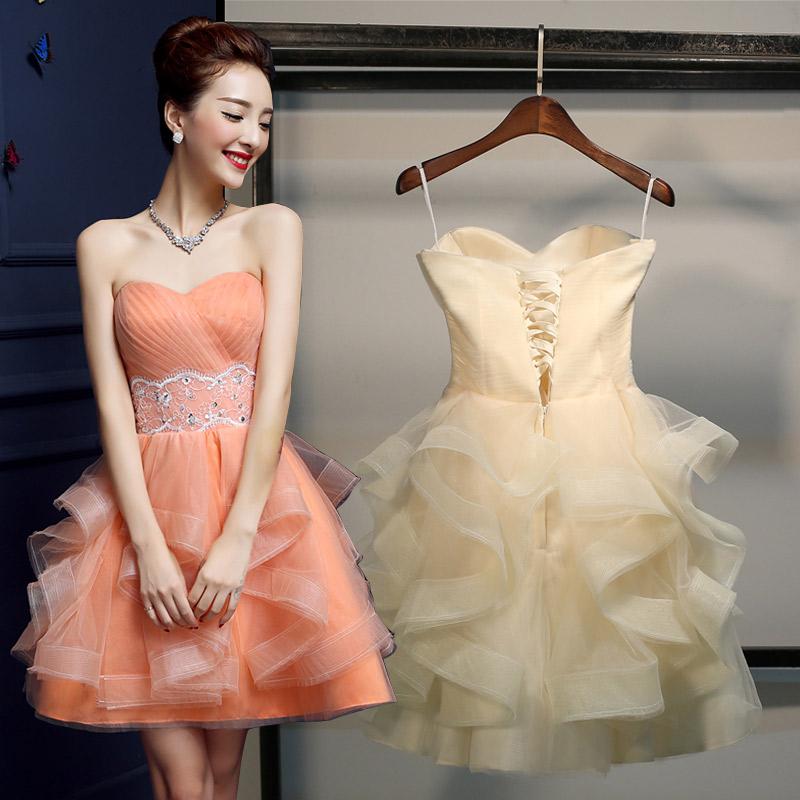 伴娘服短款2016 韓式主持人畢業小禮服連衣裙宴會晚禮服顯瘦女