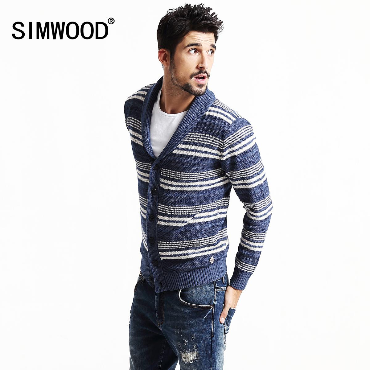 Simwood~天貓預售~ 男士條紋印花毛衣開衫男修身針織衫