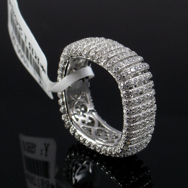 Italian Silver RING 925 Sterling Silver womens silver micro Inlay Ring female silver ring row diamond ring ring ring