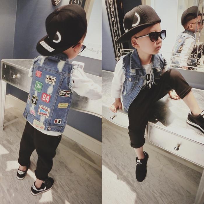 Новая Корейская версия 2016 прилива весной ребенка детей мальчиков вышитые джинсовый жилет жилет жилет свитер пальто с