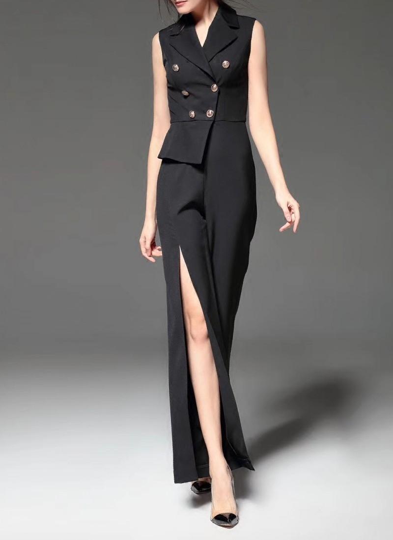 18新款黑色长款礼服 欧美风时尚西装领连体裤 宴会年会生日会晚装