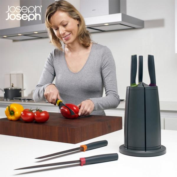 英国 Joseph Joseph 不锈钢旋转刀具套装组合/刀架厨房 含刀鞘