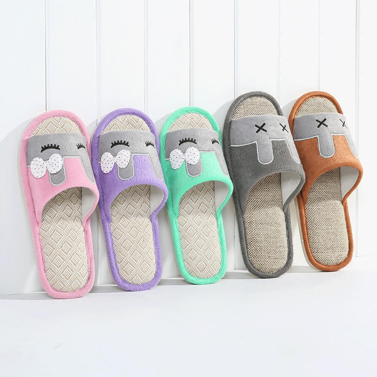 【天天特价】春夏季居家情侣防滑亚麻拖鞋室内木地板四季棉麻托鞋