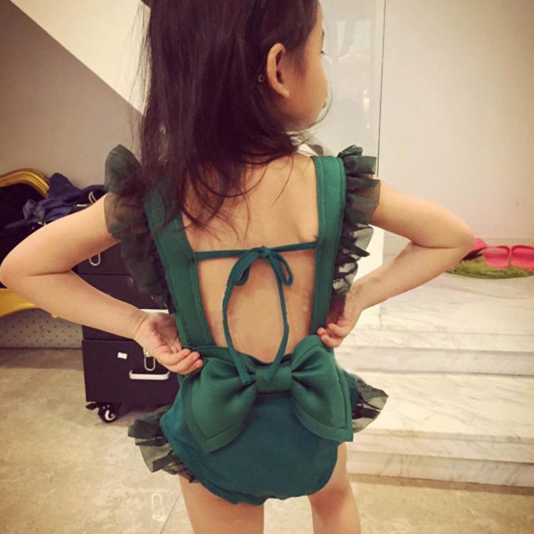 儿童女孩性感露背装小中大童游泳衣