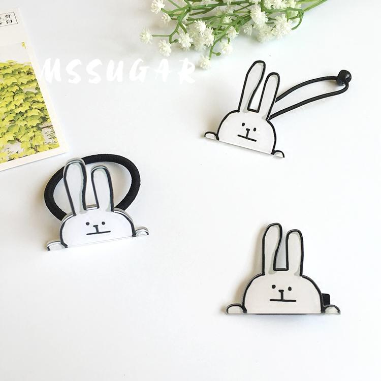 日本原宿亚克力发饰 兔子 小白兔发绳 可爱皮筋 发圈 小饰品 发夹