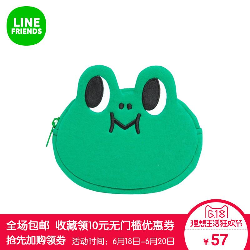 LINE FRIENDS 蛙裏奧^(臉型)零錢包可愛12.5x12cm(誤差1cm)