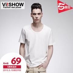 Viishow men's summer 2015 new men's t-shirts t-shirts men cotton solid color slim fit crew neck t shirt men