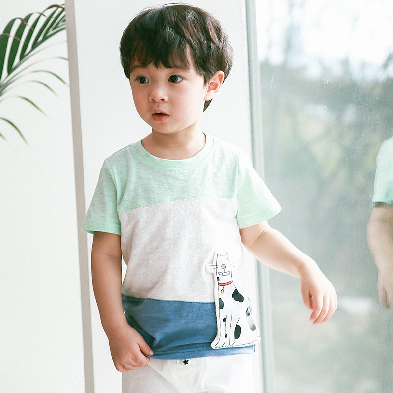 Korean childrens wear Korean version mens summer pure cotton green white blue gray Tibetan Blue 3 color matching three-dimensional spotted cat short sleeve T-shirt