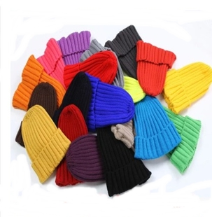 Korea tide candy colored pointy hat knitting wool hat Korean men and women couple warm autumn and winter children s paternity