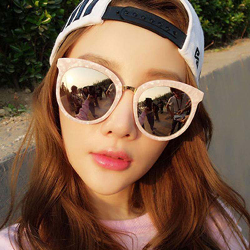 韓國新明星同款貝殼粉色女士太陽鏡墨鏡2016潮反光圓臉眼鏡男優雅