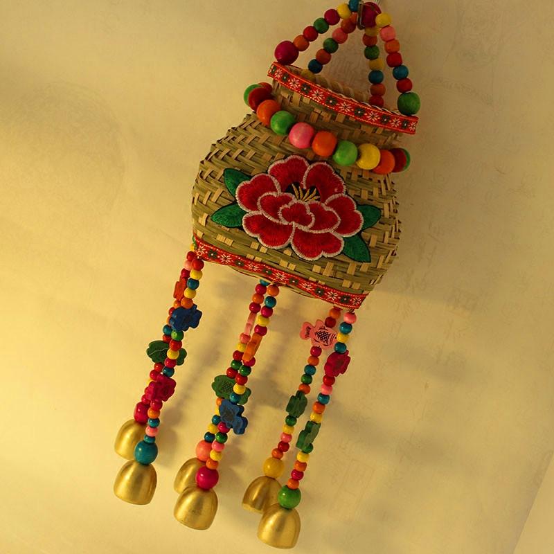 Колокольчик ворота украшения бамбук компилировать рыба корзины экономить деньги хранение бак металл колоколчики кулон юньнань характеристика ручной работы искусство товары вещь