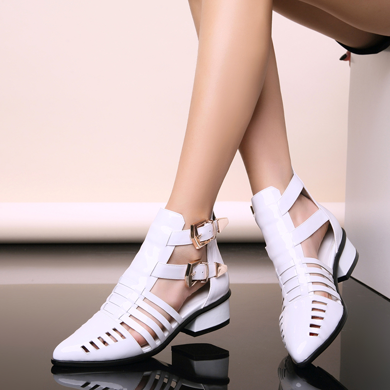 Bicaiyi spring / summer 2016 new leather pointed thick heeled womens shoes buckle high top medium heeled ROMAN SANDALS