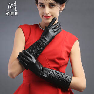 Mandy Spyridon gloves long section of female fashion diamond lattice bow first layer of sheepskin winter leather gloves Ms
