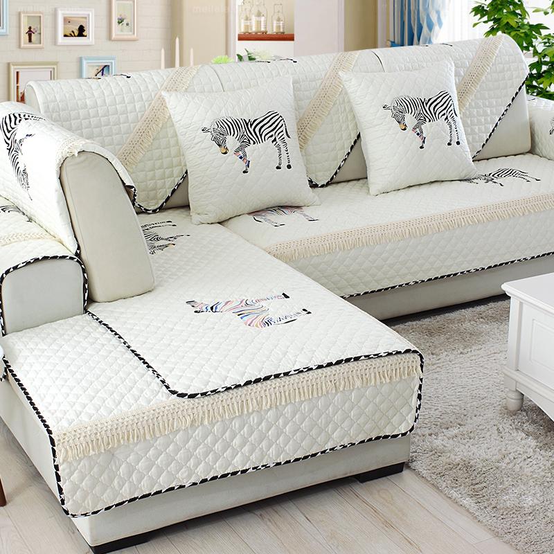 刺繡全棉沙發墊 四季 簡約 全蓋沙發套布藝沙發巾純棉坐墊