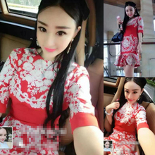In the summer of 2015 the new European women's aristocratic temperament retro printing cultivate one's morality show thin fishtail gown dress
