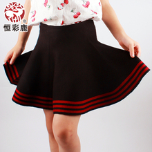 Constant color deer in the spring and autumn girl tall waist skirt children knitting wool render skirts posed umbrella skirt short skirts