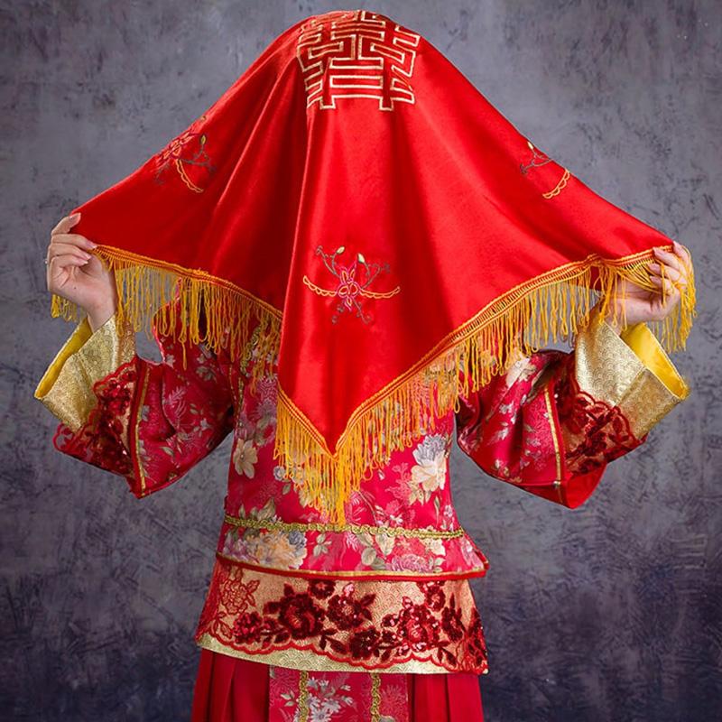 Хиджаб невеста выйти замуж красное покрытие глава счастливый крышка счастливый носовой платок монгольский шарф свадьба статьи китайский стиль приветственное слово хиджаб пещера дом