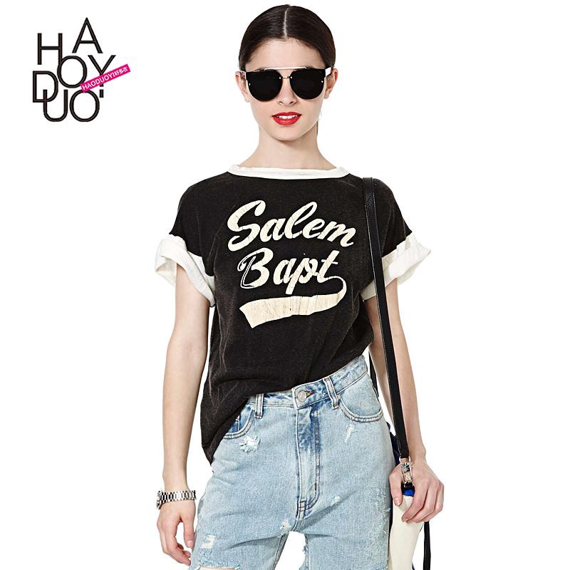 Haoduoyi2016夏裝   字母印花 撞色拚接寬鬆女T恤