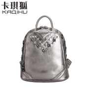 2015 kaqi Fox backpack leather Institute in autumn and winter the wind rivets small shoulder bag Korean version mini bag handbags