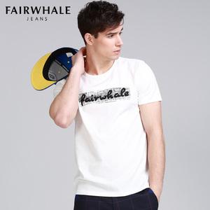 马克华菲 男士短袖T恤 夏季新款 刺绣全棉圆领修身简约上衣男