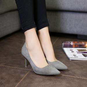 秋季高跟鞋韩版女鞋细跟尖头浅口性感单鞋婚鞋反绒工作鞋职业单鞋