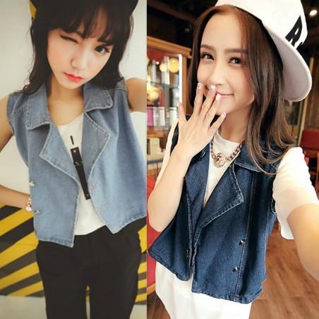 2015 года новые свободные рукавов плюс размер джинсовой жилет жилет женщин весной и летом приливов Корейский малых Куртка Пальто