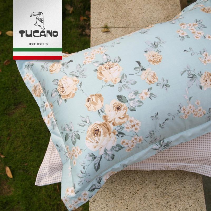 純棉枕套全棉斜紋枕頭套48X74cm簡約田園風印花枕芯套床品一對裝
