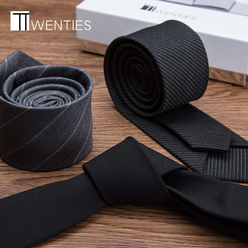 Wool tie men's fashion Korean formal business lazy zipper free wedding bridegroom black grey small narrow version fine