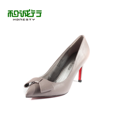He Chenghang and Ms 2015 spring suede bow heels elegant women's shoes shoes 0770046