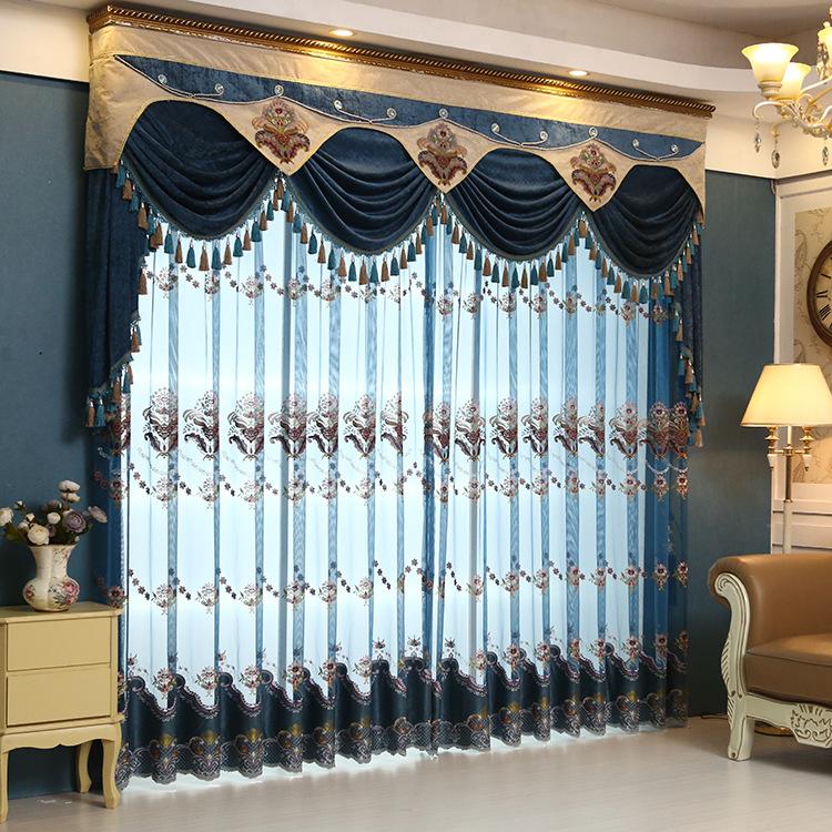 奢华欧式别墅客厅卧室绣花窗帘包邮南宁本地提供上门测量安装
