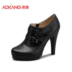 Aucom Europe leather high heel fashion shoes for fall/winter round platform shoes with buckle