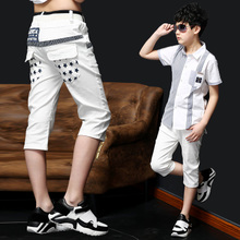 Belle's children's wear 2015 summer boy 7 minutes of pants Children's recreational pants in the big kid male thin trousers han edition tide