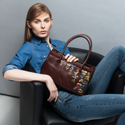 Long original art, beautiful bag hand-painting folk style leather satchel suede leather clean handbags