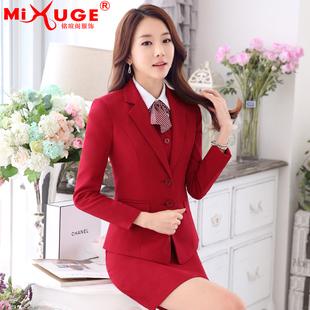 Новой темперамент OL профессиональных женщин одеваться износа костюм корейской моды интервью костюм спецодежда осенью и зимой одежда