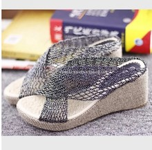 Cool in the summer of 2015 the new mesh contracted large base wedges slippers mother sponge bottom high-heeled sandals women's shoes big yards shoes