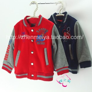 Children s Spring and Autumn coat brushed baseball jersey boys Spiderman jacket Europe foreign children 0 5 years old