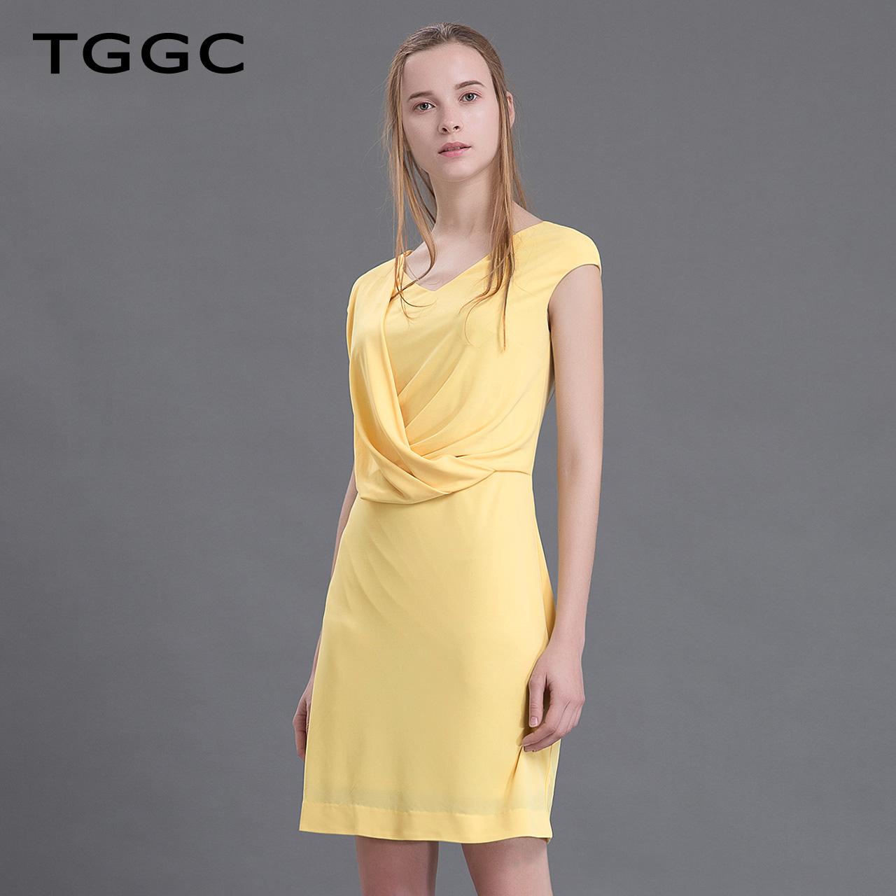 TGGC 2018年夏装 气质通勤高腰修身V领雪纺短袖女连衣裙 F20550