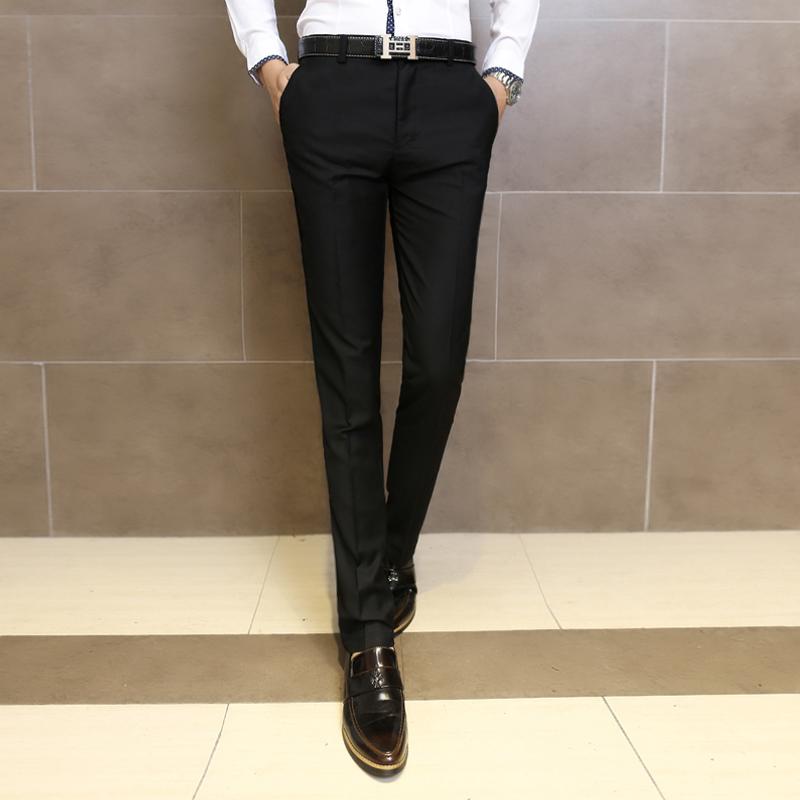 修身型青年黑色 西服褲