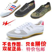 正品双星排球鞋牛筋底训练武术锻炼运动帆布鞋男女跑步网跑鞋中考